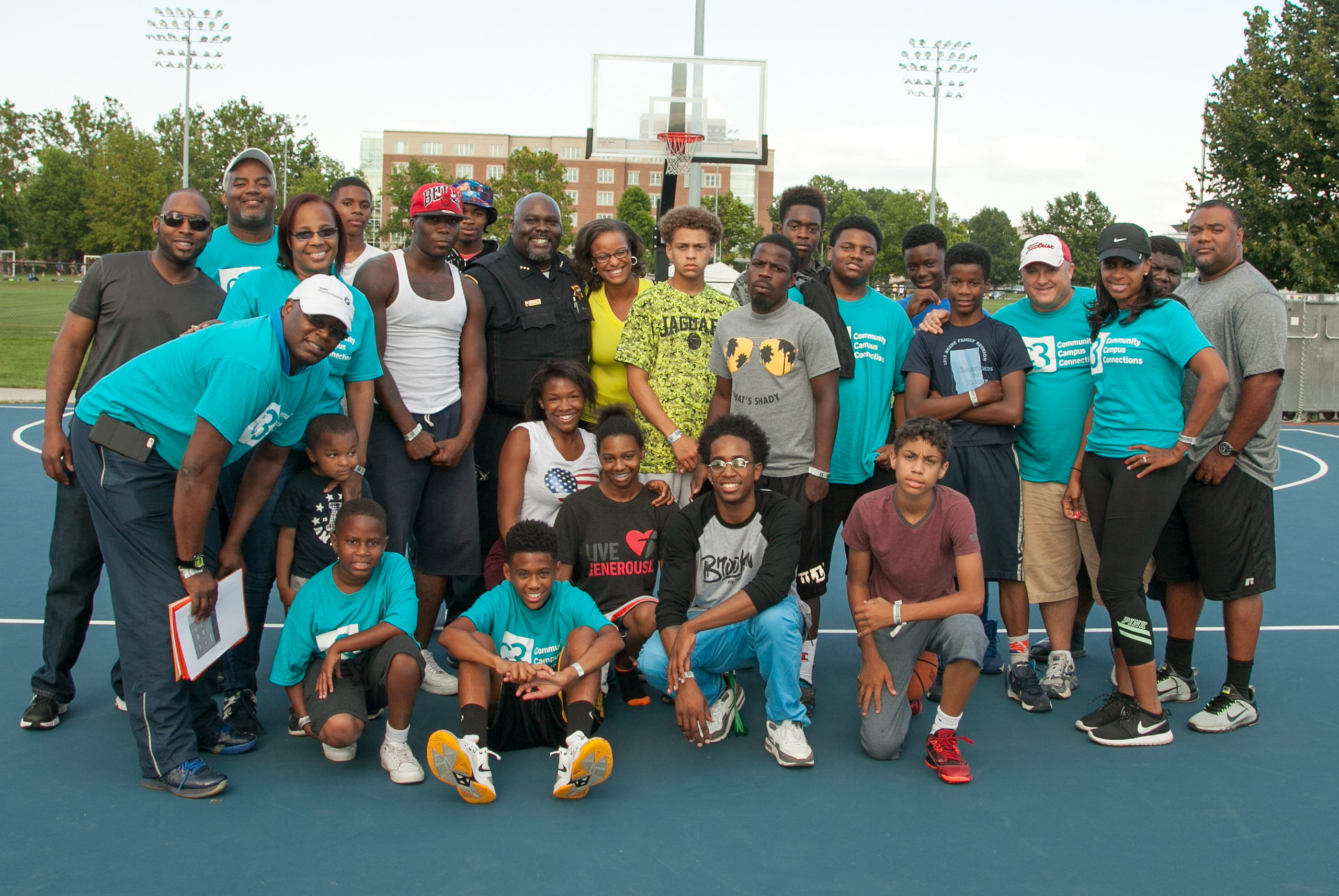 Youth group at basketball court